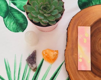 Gold Rush Watercolor Bookmark - Pink