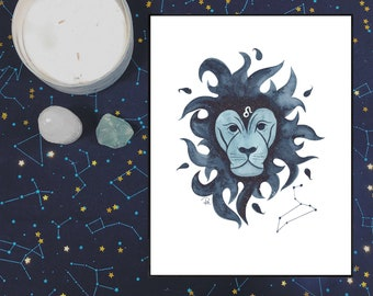 Leo Watercolor Print - ZODIAC SERIES