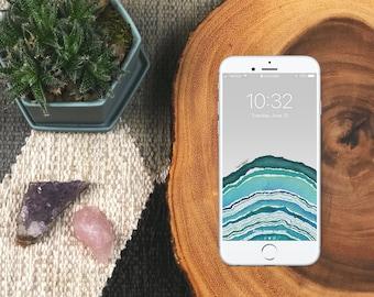 Aqua Geode Wallpaper