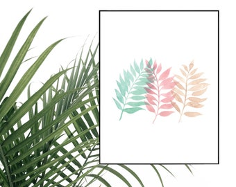 Tricolor Palm Watercolor Print - 5x7