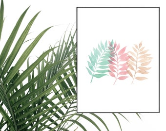 Tricolor Palm Watercolor Print - 8.5x11