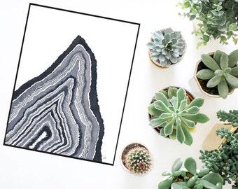 Monochromatic Geode Print - 8.5x11