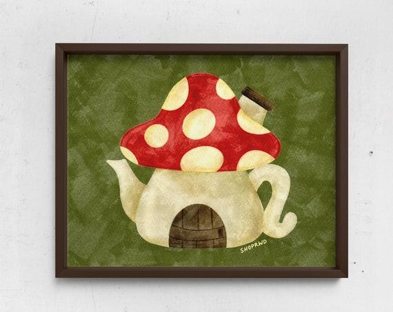 Mushroom Teapot Print
