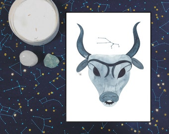 Taurus Watercolor Print - 5x7 - ZODIAC SERIES