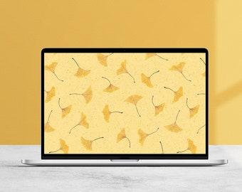 Falling Ginkgo Desktop Wallpaper