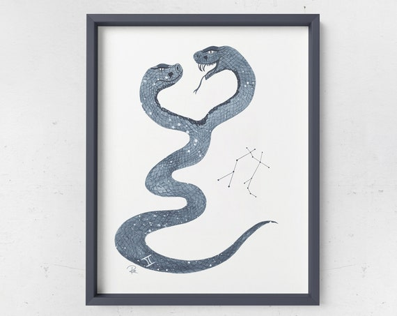 Gemini Watercolor Print - ZODIAC SERIES