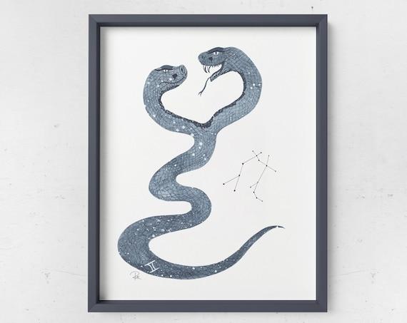 Gemini Watercolor Print - ZODIAC SERIES