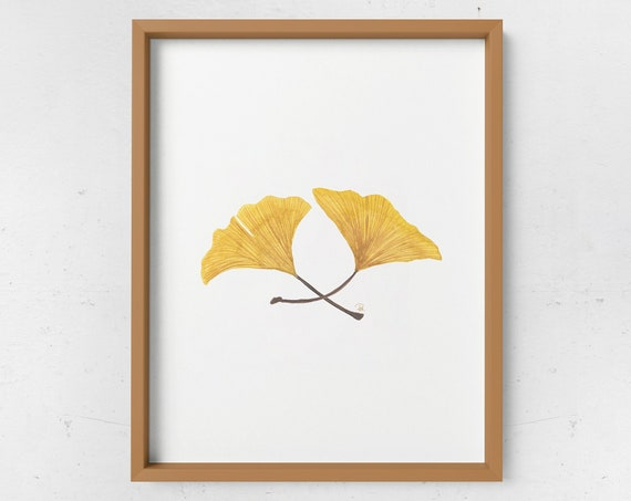 Ginkgo Leaves Watercolor Print