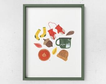 Autumn Essentials Watercolor Print