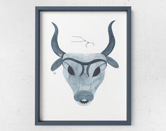 Taurus Watercolor Print - ZODIAC SERIES