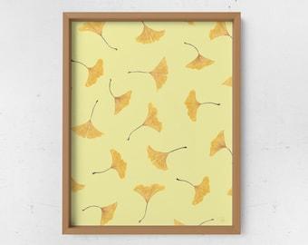 Falling Ginkgo Watercolor Print