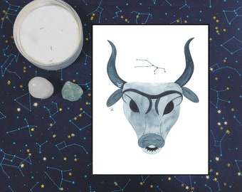 Taurus Watercolor Print - 8.5x11 - ZODIAC SERIES