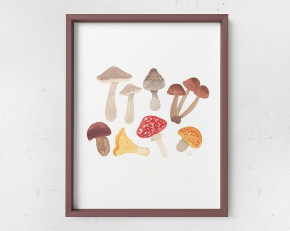 Autumn Foraging Watercolor Print