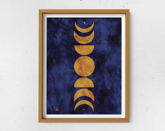 Abstract Moon Phases Print - Mustard & Navy