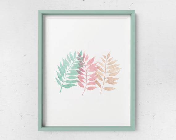 Tricolor Palm Watercolor Print