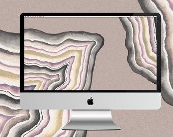 Neutral Toned Geode Desktop Wallpaper
