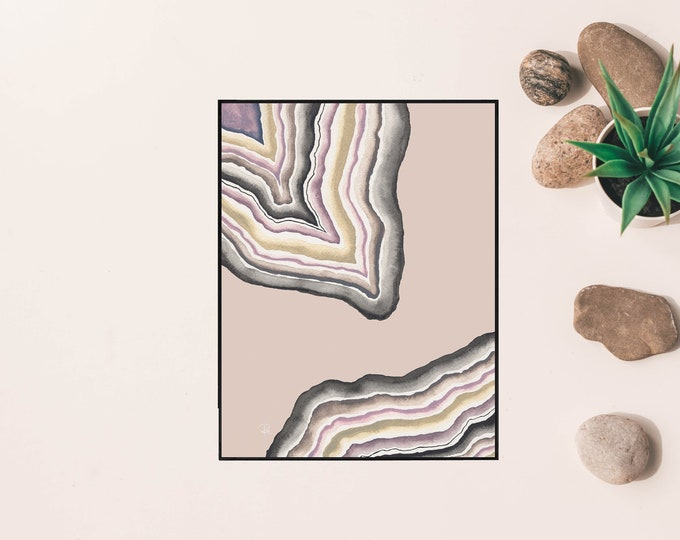 Featured listing image: Neutral Toned Geode Watercolor Print - 8.5x11