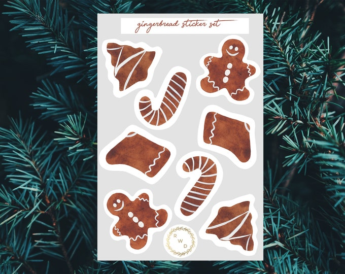 Featured listing image: Gingerbread Watercolor Sticker Set