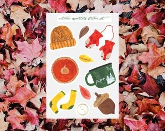 Autumn Essentials Watercolor Sticker Set