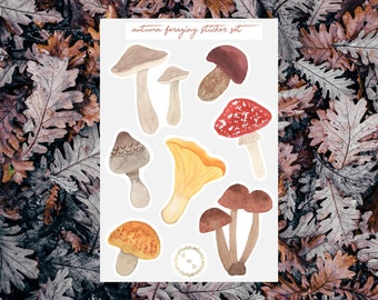Autumn Foraging Watercolor Sticker Set