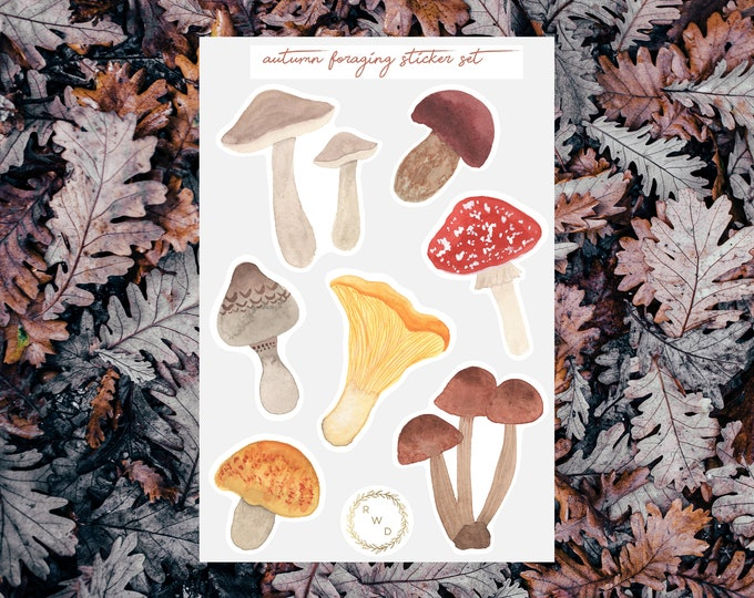 Featured listing image: Autumn Foraging Watercolor Sticker Set