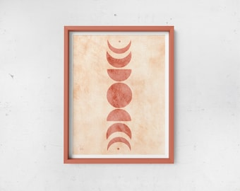 Abstract Moon Phases Print - Blush & Almond