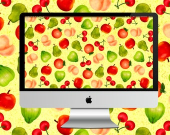 Animal Crossing New Horizons Fruit Pattern Desktop Wallpaper