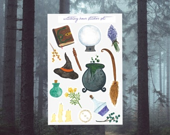 Witching Hour Watercolor Sticker Set
