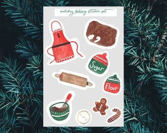 Holiday Baking Watercolor Sticker Set