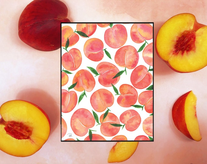 Featured listing image: Just Peachy Watercolor Print - 8.5x11