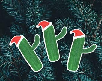 Christmas Cactus Watercolor Sticker
