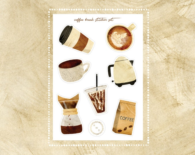 Featured listing image: Coffee Break Vinyl Sticker Set