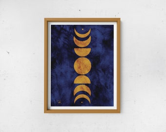 Abstract Moon Phases Print - Mustard & Navy