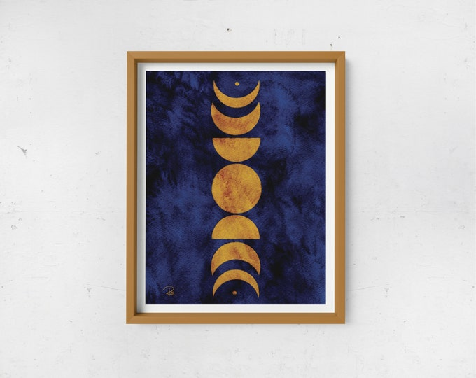 Featured listing image: Abstract Moon Phases Print - Mustard & Navy