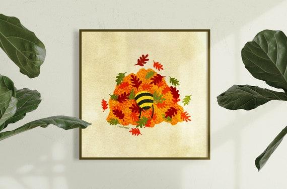 Bud the Bee Leaf Pile Digital Print