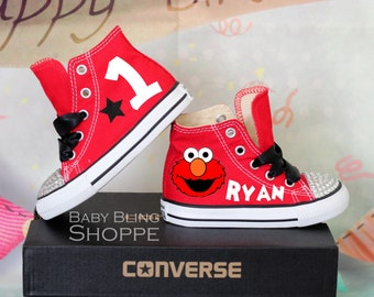 Elmo Birthday, Elmo Party, Sesame Street Elmo, Sesame Street Party, Elmo Birthday Outfit, Elmo 1st Birthday, Bling Converse, Bling Shoes