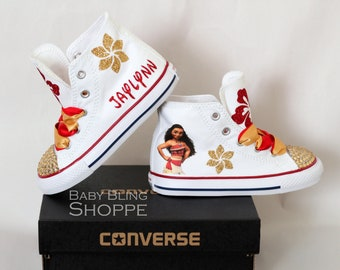 Moana Birthday Outfit, White High Top Converse Gold Bling Shoes with Red and Gold Flowers, Personalized Custom Shoes