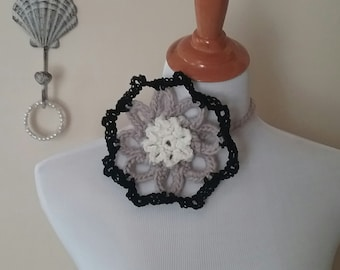 Floral Choker, Lace Crochet Flower Necklace, Ella Marie Collection