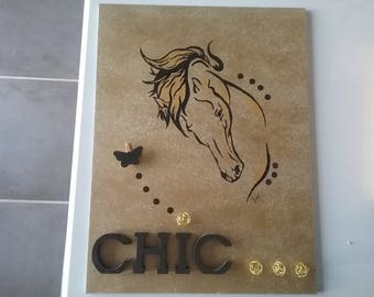 Table modern black and gold horse head