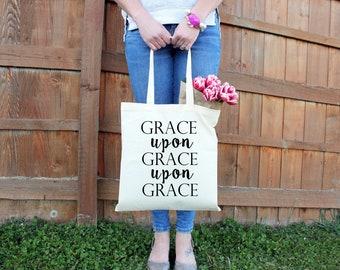 Canvas Tote Bag - Grace Upon Grace Upon Grace