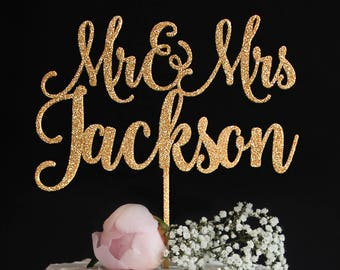Custom Wedding Cake Topper with Last Name | Elegant Mr and Mrs Cake Topper | Sweet Calligraphy Wedding Cake Topper | Gold Silver Glitter