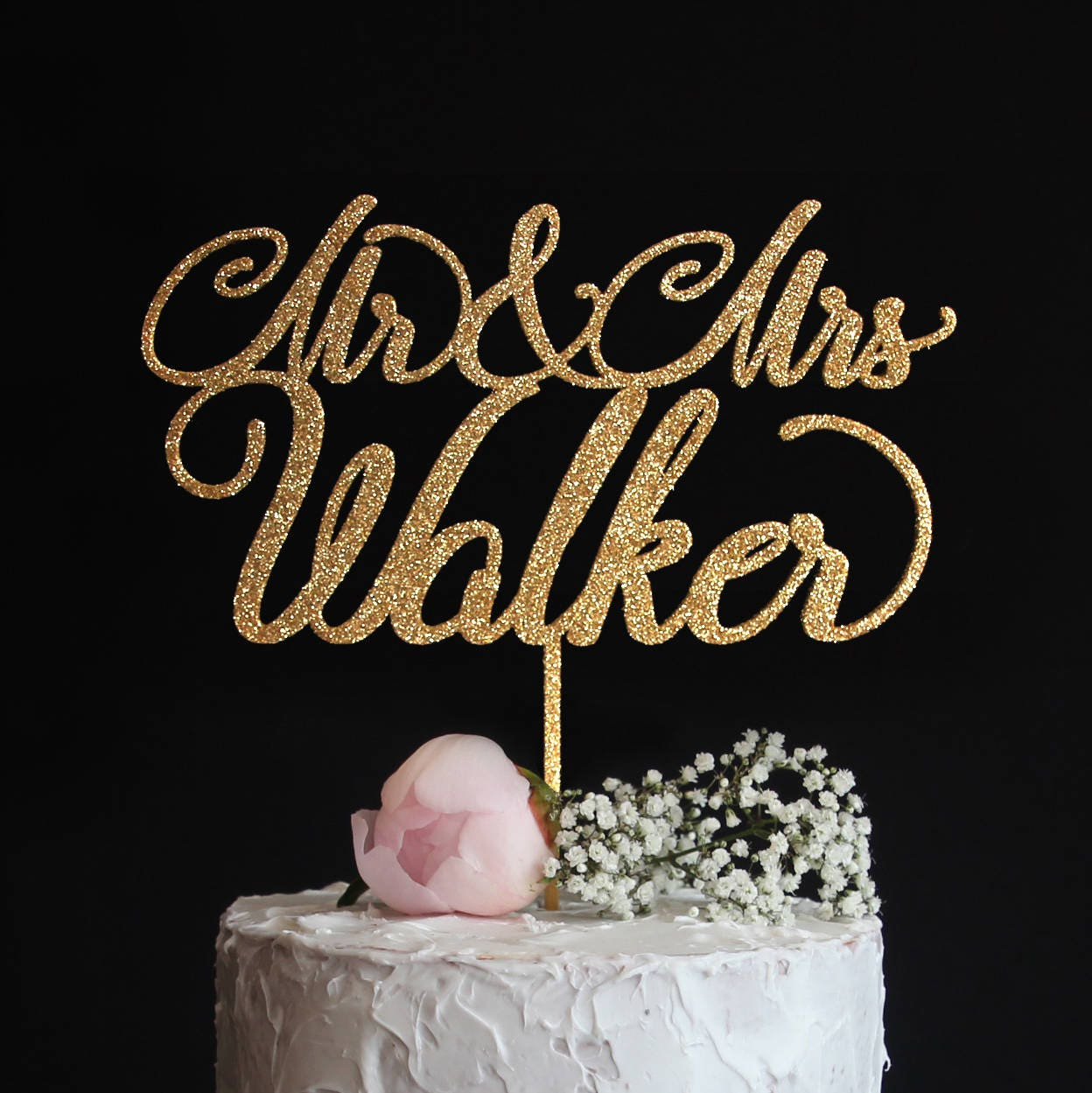 Custom Wedding Cake Topper With Your Last Name Elegant Mr