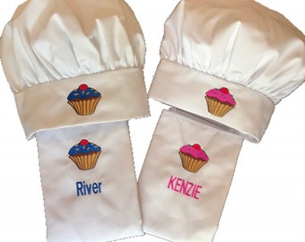 Kids Apron and Chef Hat Cupcake Logo Set-  Personalization Available!