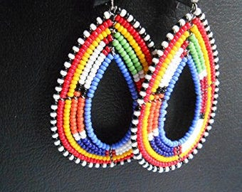 Tribal maasai/masai earrings, Hoop earrings, African earrings, Beaded earrings