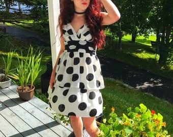 Black and White Retro Polka Dot Ruffle Pin Up Dress