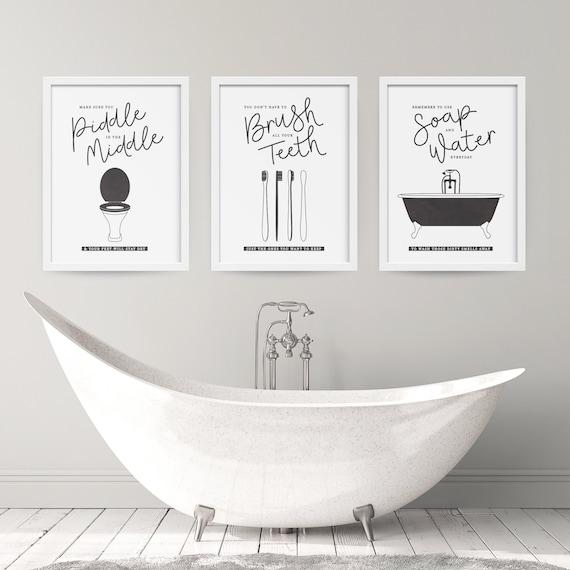 Set Of 3 Bathroom Etiquette Prints Toilet Tooth Brush Bath Etsy