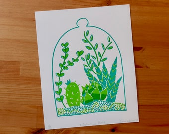 Screen Printed Poster | Illustrated Hand Printed Succulent Terrarium Print | A Portrait In Plants