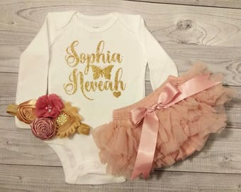 Baby Girl Clothes, Baby Girl Coming Home Outfit, Newborn Baby Girl Outfit, Baby Girl, Monogrammed, Baby Girl Outfit Baby, Baby Girl Bloomer