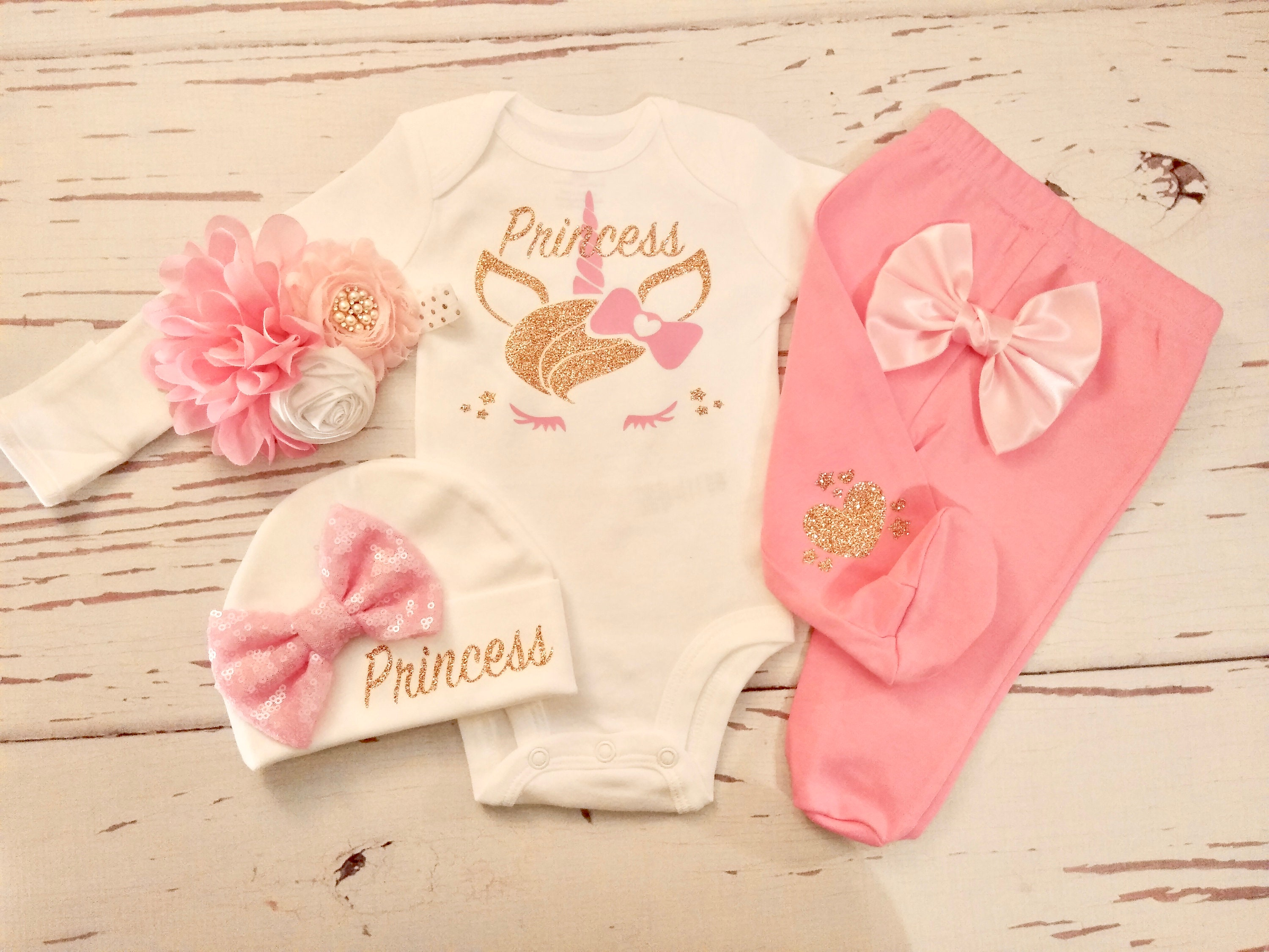 Hat Baby Shower Gift Set Personalized Princess Baby Girl Clothes Onesie