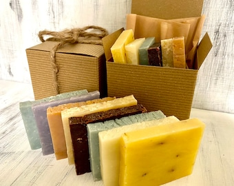 Gift Box Soap Sampler, Unisex Gift, Natural Soap Bar End Pieces, Wedding Favors